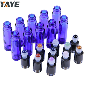 Natural Semi-precious Stone Top Roller Ball Blue Glass Roller Bottle for Essential Oil