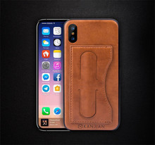 Credit Card Holder Wallet Case Invisible Stent Practical Back Cover for iPhone X Compatible with Magnetic Car Mount CA5962
