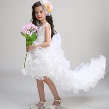 Western Style Baby Girl Clothing Fancy Trailing Soft Fabric Party Wedding Dress LS003TW