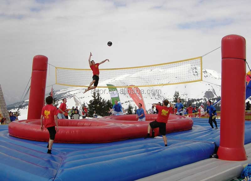 High quality outdoor Inflatable sport games for adult/inflatable bouncy volleyball court for beach
