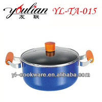 Aluminum blue Non-stick casserole sauce pot stock pot colorful cookware set with wooden handle