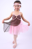 simple style grey and pink stretch mesh dance dress for child