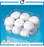 Eco-Friendly PET Vacuum Formed Plastic Punnet Packaging For Mushroom