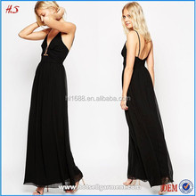 New Gold Trim Design TALL Black Chiffon Maxi Dress