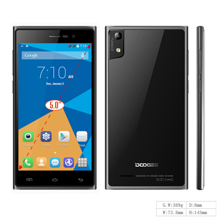 New Arrival DOOGEE TURBO2 DG900 5.0Inch Smartphone Android 4.4 MTK6592 Octa Core 1.7GHz 2GB RAM 16GB ROM Mobile Phone