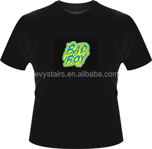 customized Promotions glowing led t shirt / night glowing led t shirt manufacturer