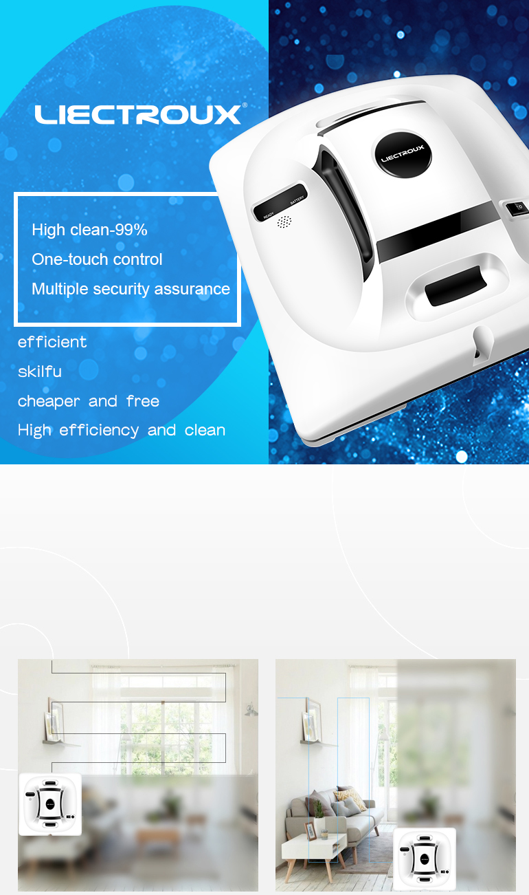 Liectroux X6 Automatic Window Cleaning Robot,Glass Vacuum Cleaner Tool and Robotic Washer
