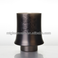 Decorative decal lacquer gray glass hurricane/vase/candle holder