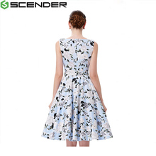 2017 Summer Women Sleeveless Polka Dot Floral Print Clothing Cotton 50s Casual Rockbilly Dresses