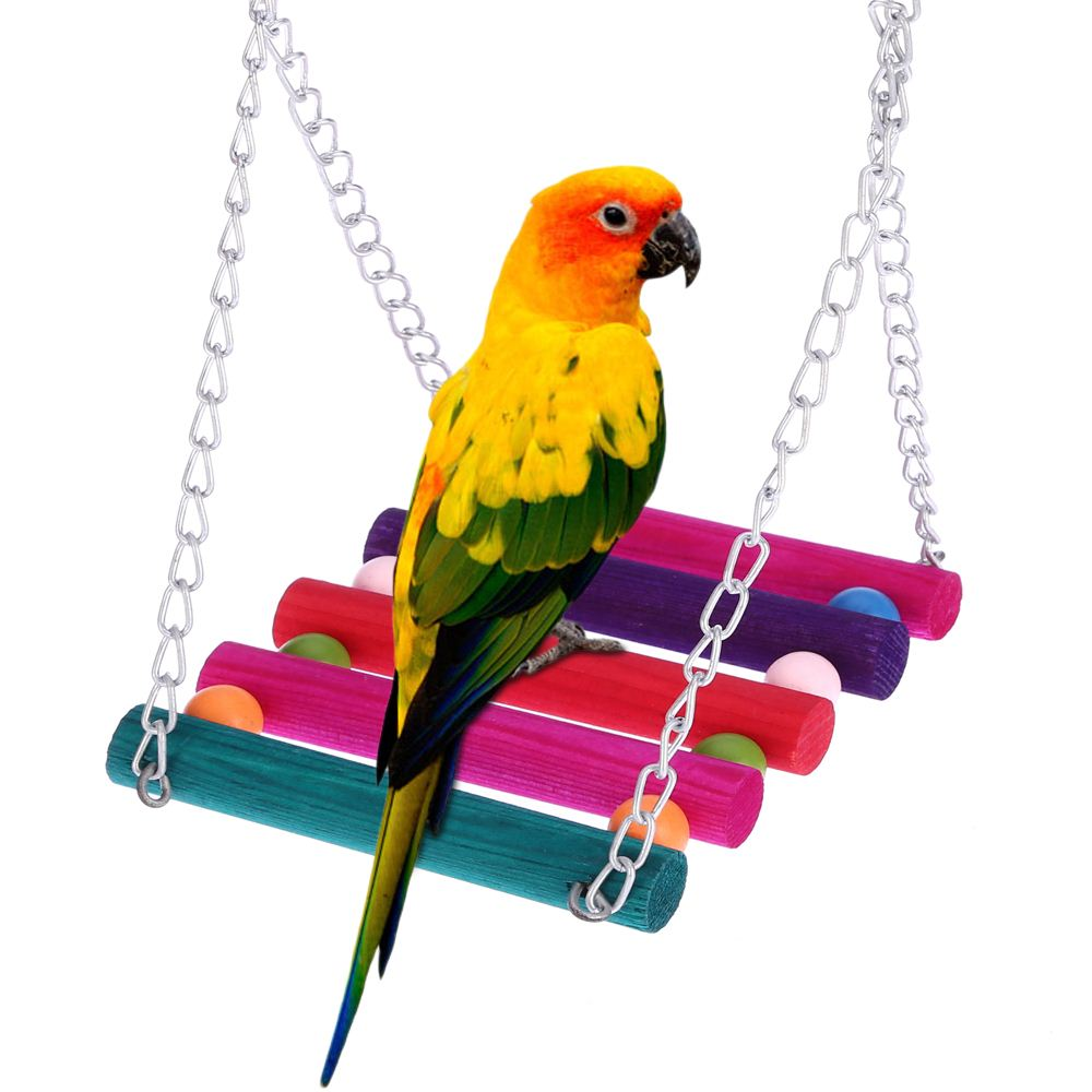 Bird parrot wood stand climbing ladder toy parrot swing toys parrot Cockatiel lovebirds Swing Ladder Cage Hammock Hanging Toy