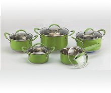 Factory Supply 10 pcs Kitchen Accessories Staiinless Steel Silicon Wrapped Handle Cookware Set with Glass Lid