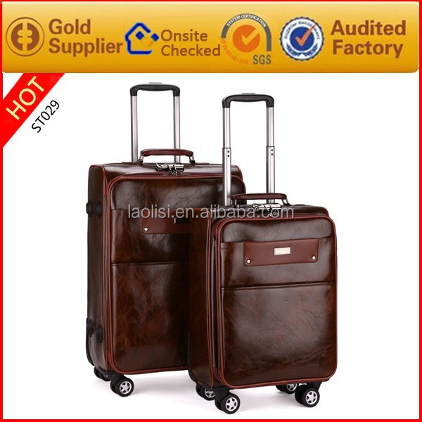 2015 travel bag mens vintage high quality leather OEM luggage with trolley