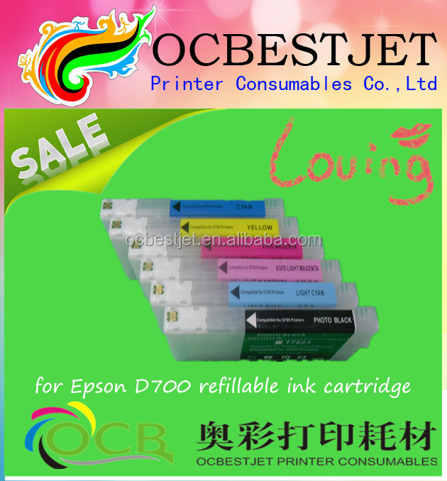 New product on china a market !!! for epson D700 refillable ink cartridge with chip
