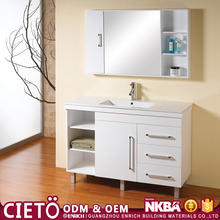 White high gloss bathroom vanity pvc apartment bathroom cabinet customized furniture