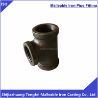 BS threads galvanized banded tee malleable iron pipe fittings