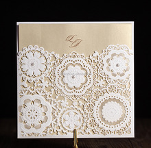 2017 wishmade laser cut flower design wedding invitation model White Pocket laser cut wedding invitations