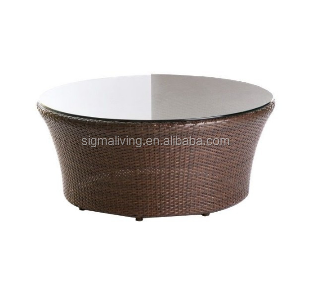 Hot sale simple design outdoor furniture deep color big  rattan round table
