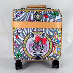Fashionable PU leather material animal print pattern luggage with 4 trolley wheels