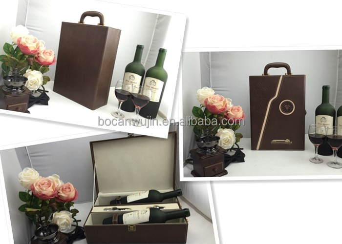 Leather/PU box wine bottle opener gift set,father's day gift set