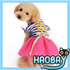 hot sale beautiful pet clothes dog dress stripe with pink color