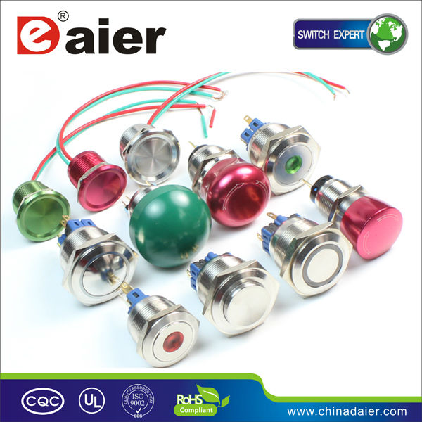 Daier red dot waterproof push-button switch