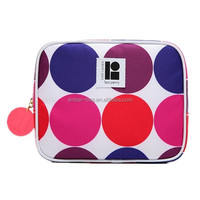 Colorful dotted pattern polyester cosmetic bag with round puller (91028)