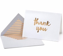 Gold Foil Letterpress Thank You Cards and Gray Envelopes 20 Pack