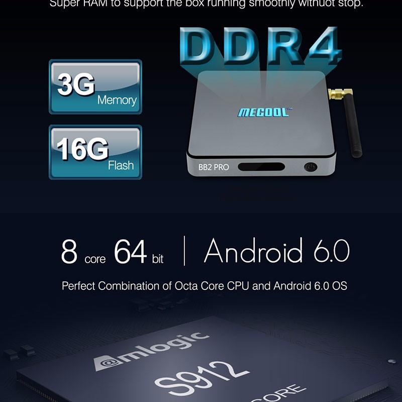 First DDR4 Model BB2 Pro BT 4.0 Dual band wifi Android 6.0 tv box 3gb DDR4 Amlogic s912 Octa Core android 6.0 TV Box BB2 PRO