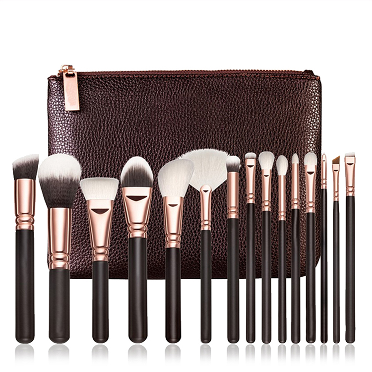 customized 15pcs Rose Golden/Pink Makeup Brushes Set Cosmetic Make Up Tools Kit Powder Foundation Eyes Brush with bag