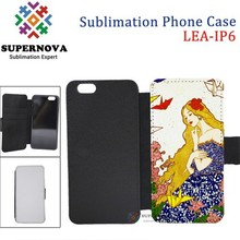 Sublimation Printing Leather Flip Cover Case for iPhone iP 6, 4.7inch