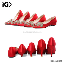 Fancy ladies mid heel pumps jewel embellished dress shoes red satin high heels for women