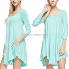 Ladies 3/4 Sleeves Light Mint V-Neck Short kaftan Swing Dresses For Women Sexy