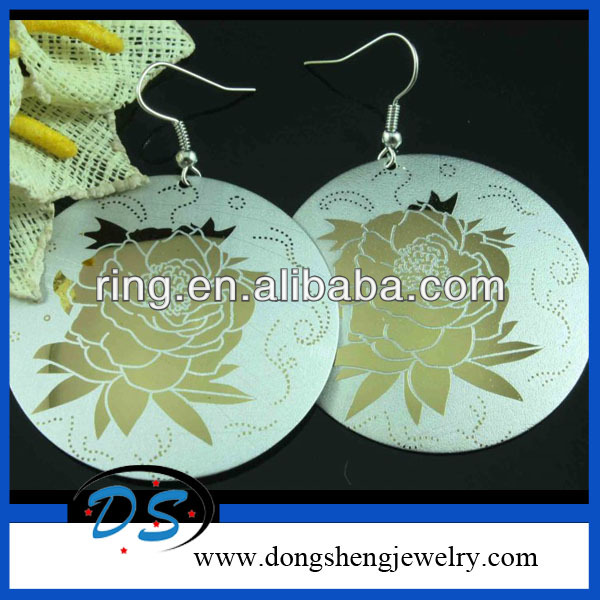Fashion Big Round Flower Cloisonne Dangle Earrings