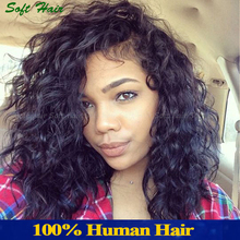 Curly Natural Color For Black Woman Glueless Virgin brazilian Human Hair Front Lace Wigs