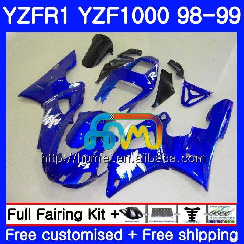 Body For YAMAHA YZF-<strong>1000</strong> YZF gloss blue <strong>1000</strong> R 1 YZF-R1 98 99 Bodywork 97HM18 YZF1000 YZF R1 98 99 YZFR1 1998 1999 Fairing kit