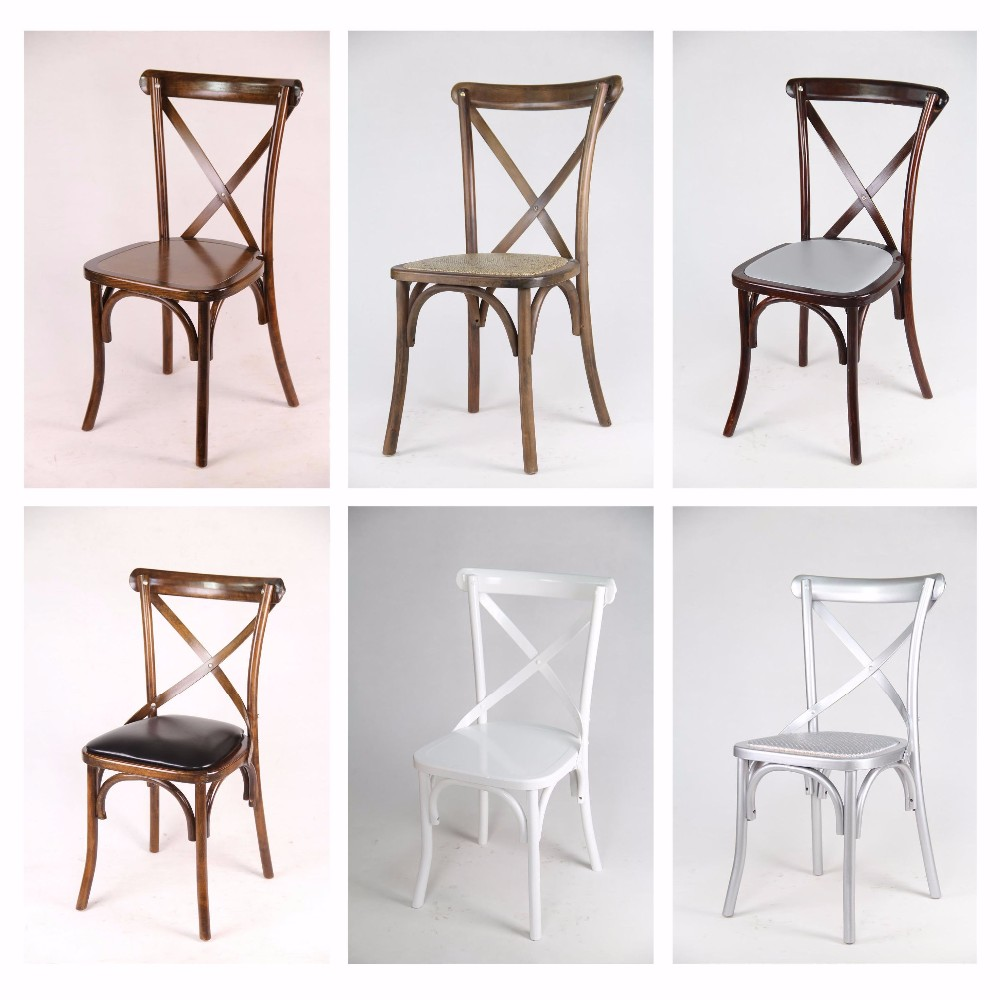 Wholesale Quality Oak Beech Wood Cross X Back Dining Chairs Rentals