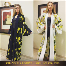 Fashion women jubah maxi dress muslim daily wear printed lemon long sleeve islamic cardigan dubai front open abaya with belt