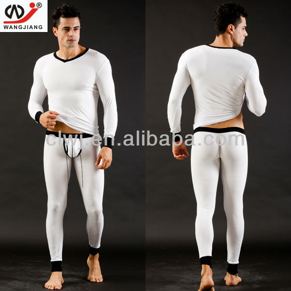 WJ brand Top and Bottom Thermal Long Johns Set Underwear Pajama Long Sleeve V-Neck