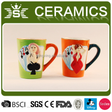 creative 3d playing card sexy lady ceramic design mugs