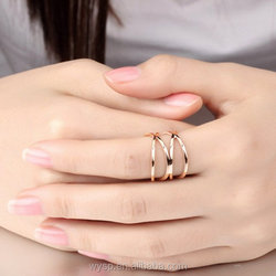 Wholesales Stainless Steel Jewelry Womens Rose Gold Plated Double X Criss Cross Long Hollow Ring Wedding Lady