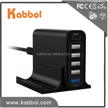 Universal power supply 6-Port USB QC 3.0+Type-C Travel Charger 60W phone adapter for Galaxy note 8 note 5