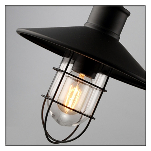 Zhongshan Factory Art Antique Retro Lighting Fixtures Cheap E26 LED Bulb Light Black Iron Cage Hanging Pendant Lamp for Kitchen
