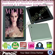 "New 9.7"" dual core a20 oem android tablet manufacturer"