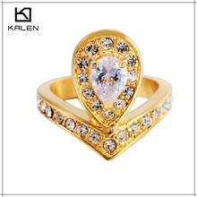 18k fake diamond ladies gold plated finger ring jewelry