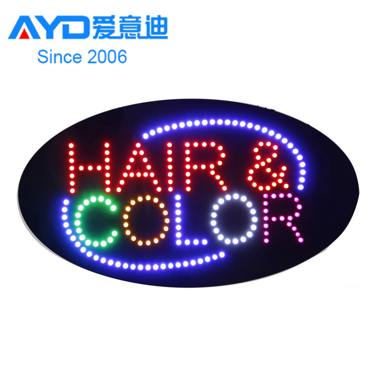 Custom Flash Edge Advertising Shop Hair Color Highlights LED Open Sign