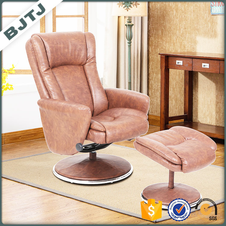 BJTJ reclining mechanism design leather chair with separate ottoman 70267