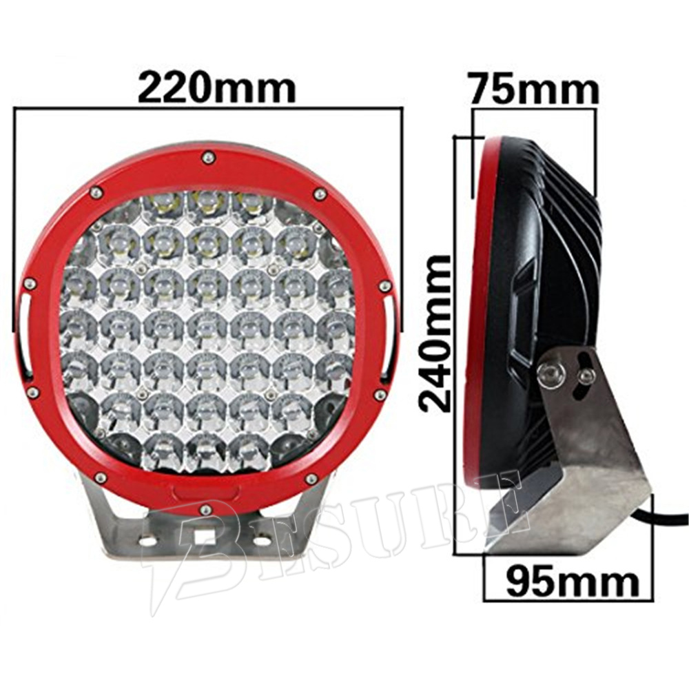 Red Black Round 9'' 185W 16600LM LED Driving Spot/Flood Work Light For 4WD Offroad