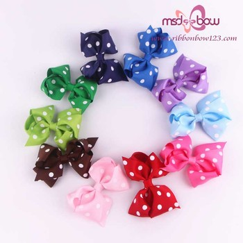 Wholesale dot printed baby girls grosgrain hair bows for boutique