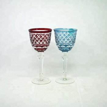 Antique colored red wine glasses hand cut Japanese style wine cups