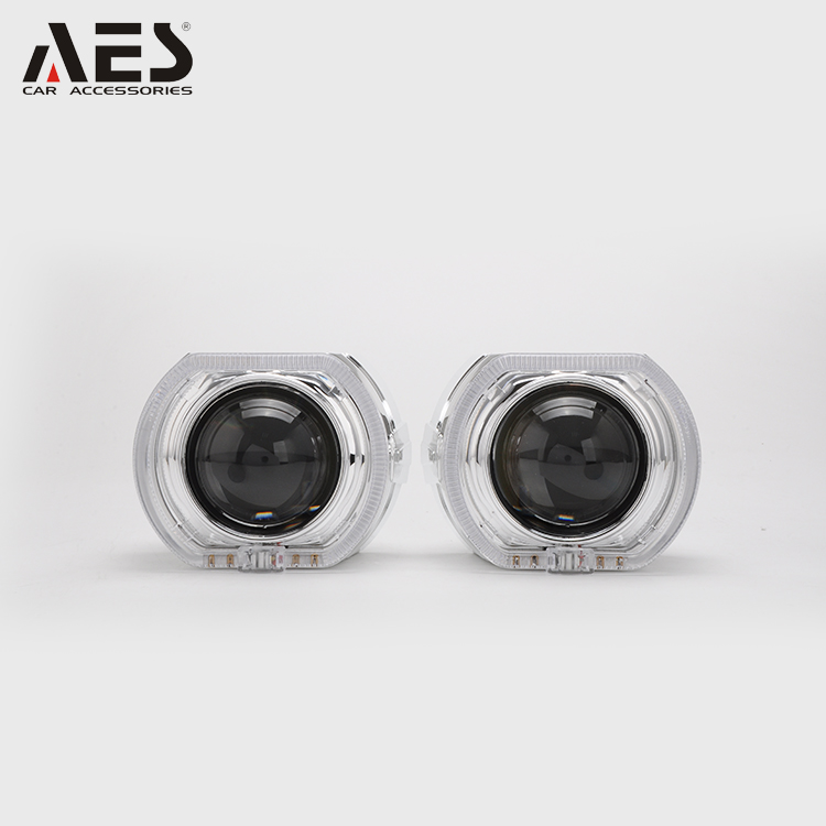"AES hot selling BM-W led ring angel eyes,hid bi xenon 3.0"" size Projector lens kit H1 bulbs headlight"